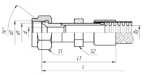 Г75. МРВД с арматурой «Ниппель под наружный конус 74 градуса, накидная гайка с трубной цилиндрической резьбой»