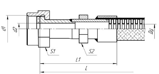 МРВД с арматурой «Ниппель плоский под прокладку, накидная гайка с трубной цилиндрической резьбой»