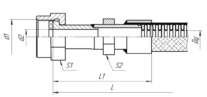 Металлорукава МРВД с арматурой Ниппель под наружный конус 74 градуса, накидная гайка с трубной цилиндрической резьбой